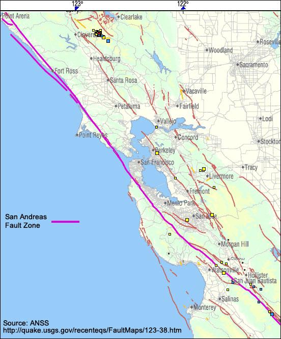 San Andreas Fault Map San Francisco Michigan Map - Map of san andreas fault line